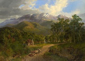 The Buffalo Ranges (1864) by Nicholas Chevalier, the first painting of an Australian subject to be acquired by the gallery
