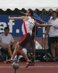 German javelin thrower Stephan Steding during the 2007 IAAF World Championships in Osaka, Japan.