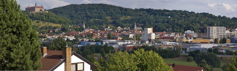 View over Kulmbach, Plassenburg and the town centre (Innenstadt)