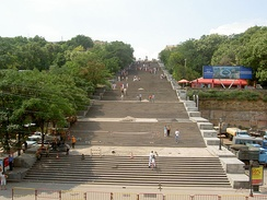 The Potemkin Stairs in Odessa extend for 142 metres (466 ft), but give the illusion of greater depth since the stairs are wider at the bottom than at the top