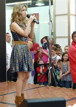 Rachael Leahcar performing at Colonnades Shopping Centre Saturday 27 April 2013