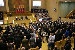 Commemoration of the Act of the Re-Establishment of the State of Lithuania in the historical Seimas hall where it was originally signed in 1990. The ceremony is attended by the Lithuanian President, Prime Minister, Chairman of the Seimas and other high-ranking officials.