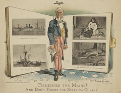 "American cartoon, published in 1898: ""Remember the Maine! And Don't Forget the Starving Cubans!"""