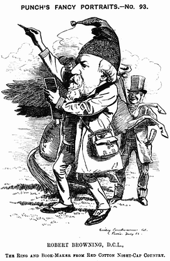 "1882 caricature from Punch Magazine reading: ""The Ring and Bookmaker from Red Cotton Nightcap country"""