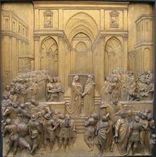 Renaissance relief of the Queen of Sheba meeting Solomon – Ghiberti's Gates of Paradise at the Florence Baptistry