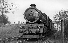 Ex-GWR King Class locomotive 6008 King James II hauling a Paddington to Birkenhead Woodside express in 1950