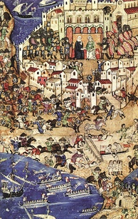 Mamluks attacking at the Fall of Tripoli in 1289