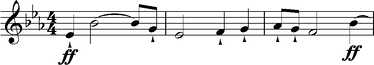 The Siegfried's Horn Call leitmotif from the prologue to Act I of Wagner's opera Götterdämmerung, the fourth of his Ring cycle. The theme is broader and more richly orchestrated than its earlier appearances, suggesting the emergence of Siegfried's heroic character.