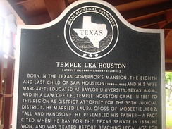 Temple Lea Houston historical marker at Square House Museum