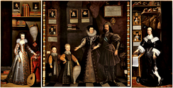 The Great Picture, 1646.  Anne Clifford as a girl at left and as a mature woman at right. The central panel shows her parents and young brothers.[10]
