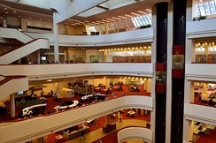 The interior of the library features a curved atrium in the centre of the building