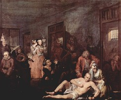 Tom in Bedlam, comforted only by Sarah Young (Anne in the opera) – the last of Hogarth's paintings.