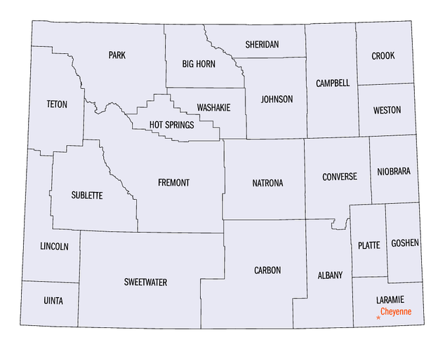 An enlargeable map of the 23 counties of Wyoming
