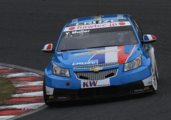 Muller driving the Chevrolet Cruze in 2010.