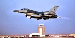 134th Expeditionary Fighter Squadron Block 25 F-16C 84-1212 taking off from Prince Sultan AB, Saudi Arabia, during Operation Southern Watch, 2000