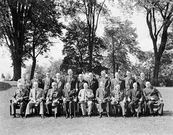 The 16th Canadian Ministry, headed by William Lyon Mackenzie King, on the grounds of Rideau Hall, 19 June 1945