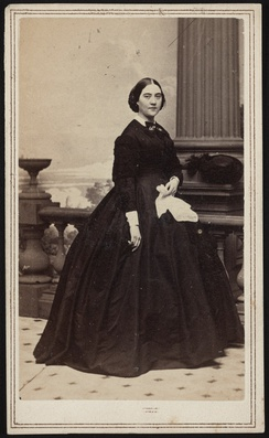 Adele Douglas, widow of Illinois senator Stephen A. Douglas, in mourning dress. From the Liljenquist Family Collection of Civil War Photographs, Prints and Photographs Division, Library of Congress