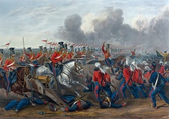 The charge of the British 16th Lancers at Aliwal on 28 January 1846, during the Anglo-Sikh war