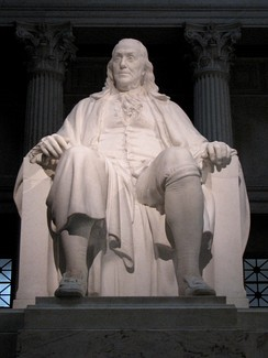 Marble memorial statue, Benjamin Franklin National Memorial