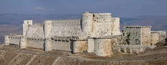 Krak des Chevaliers was built during the 12th and 13th centuries by the Knights Hospitaller with later additions by Mamluks. It is a World Heritage Site.[1]
