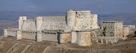 Krak des Chevaliers was built in the County of Tripoli by the Knights Hospitaller during the Crusades.