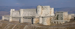 Krak des Chevaliers was built during the Crusades for the Knights Hospitallers.[210]