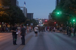 Shooting of a scene in Day 5 in downtown Austin during RTX 2012