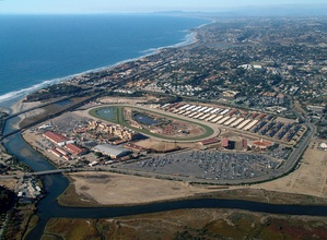 Aerial view of the Del Mar Fairgrounds and Racetrack looking northwest along the Pacific Ocean coastline.