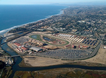 Aerial view of the Del Mar Fairgrounds and Racetrack looking northwest along the Pacific Ocean coastline