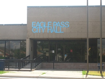 Eagle Pass City Hall at the foot of International Bridge