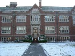 Reed College's Eliot Hall on a rare snowy day