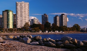 Looking along English Bay Beach in the West End