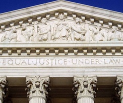 "The U.S. Supreme Court Building opened in 1935, inscribed with the words ""Equal Justice Under Law"" which were inspired by the Equal Protection Clause.[43]"