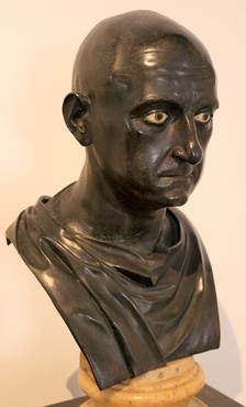 Roman bronze bust of Scipio Africanus the Elder from the Naples National Archaeological Museum (Inv. No. 5634), dated mid 1st century BC[33] Excavated from the Villa of the Papyri at Herculaneum by Karl Jakob Weber, 1750–65[34]