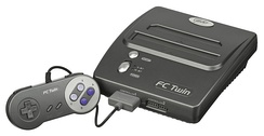 Pirated clones of NES hardware remained in production for many years after the original had been discontinued. Some clones play cartridges from multiple systems, such as this FC Twin that plays NES and SNES games.