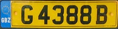 A Gibraltar number plate, featuring the GBZ country identifier