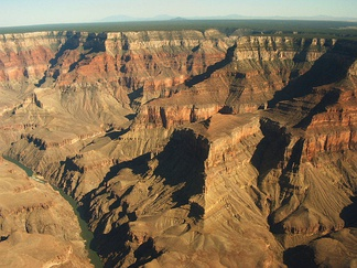 The Grand Canyon is an incision through layers of sedimentary rocks.