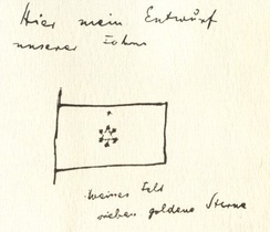 Herzl's proposed flag, as sketched in his diaries. Although he drew a Star of David, he did not describe it as such