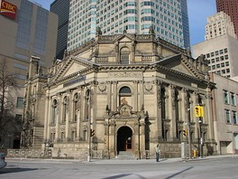 The Hockey Hall of Fame, housed in a former Bank of Montreal building at 30 Yonge Street erected in 1885, is located downtown