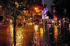 Avenue C in Manhattan after flooding caused by Hurricane Sandy on October 29, 2012.[195]