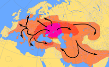 Scheme of Indo-European migrations from ca. 4000 to 1000 BC according to the Kurgan hypothesis.