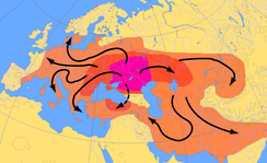 Scheme of Indo-European migrations from c. 4000 to 1000 BCE according to the Kurgan hypothesis   The assumed Urheimat (Samara culture, Sredny Stog culture) and the subsequent Yamna culture.   Area possibly settled up to c. 2500 BCE.   Area settled up to 1000 BCE.[25]