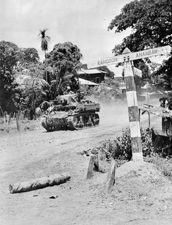 An M3 Stuart of an Indian cavalry regiment during the advance on Rangoon, April 1945