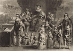 James I and his royal progeny, by Charles Turner, from a mezzotint by Samuel Woodburn (1814), after Willem de Passe