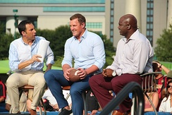 The 2018 season featured (from left) commentators Joe Tessitore & Jason Witten, and sideline analyst/consultant Booger McFarland.