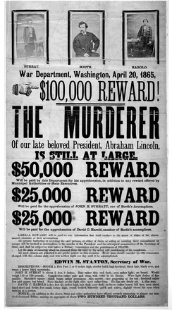 Reward broadside with photographs of John H. Surratt, John Wilkes Booth, and David E. Herold