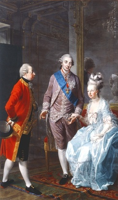 Archduke Maximilian Francis of Austria visits Marie Antoinette and Louis XVI on 7 February 1775 at the Château de la Muette (painting by the Austrian portraitist Josef Hauzinger)
