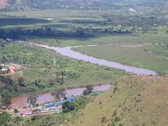 The confluence of the Kagera and Ruvubu rivers near Rusumo Falls, part of the Nile's upper reaches