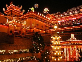 The Ke Lok Si Temple in Penang, Malaysia, brightly illuminated in the nights following Chinese new year (2005)