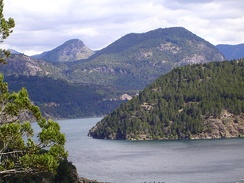 Lácar Lake, of glacial origin, in the province of Neuquén, Argentina